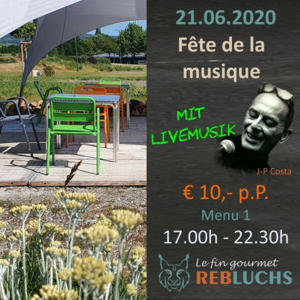 Menu1 - Fête de la Musique - TEIL 2, 17.00h - 22.30h - Sonntag, 21.Juni 2020