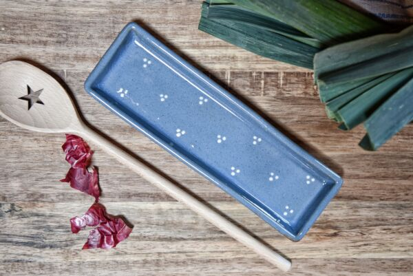 Schale für Kochlöffel 'Agathe', hellblau/weiß