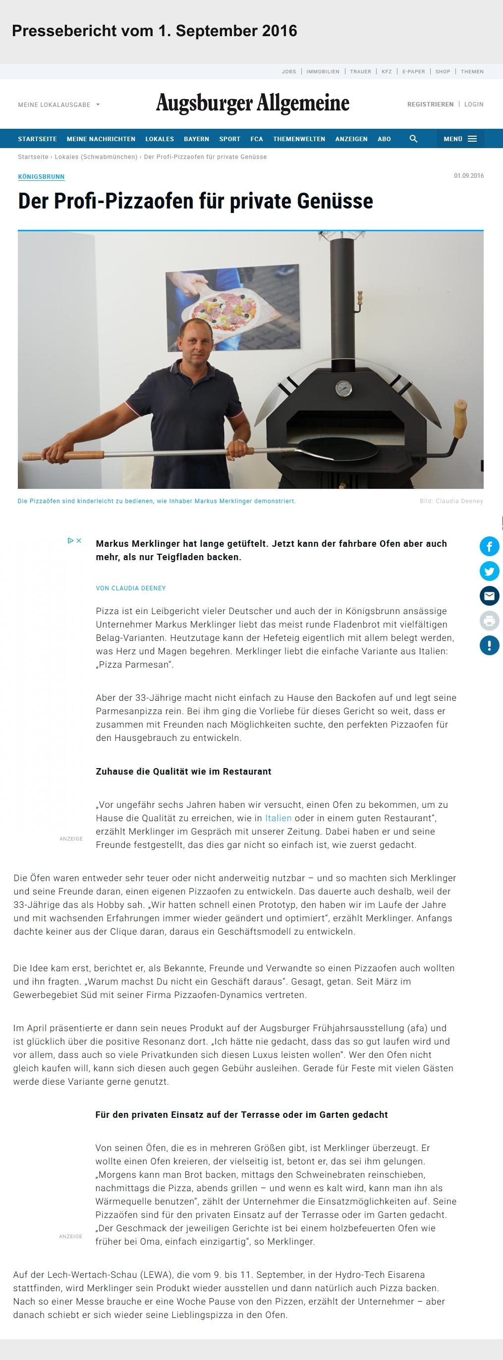 Pressebericht zu Markus Merklinger im September 2016